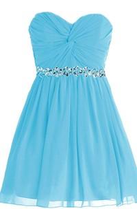 Sweetheart A-line Mini Dress With Sequined Waistline