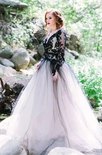 A-Line V-neck Lace Tulle Floor-length Long Sleeve Wedding Dress with Keyhole