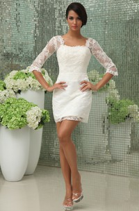 Romantic Vintage Half-Sleeve Dress With Lace Overlay