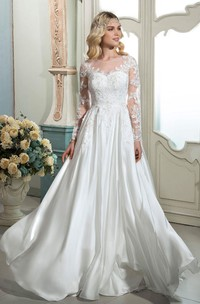 A-line Elegant Lace Ethereal Bridal Dress With Illusion Long Sleeves And Buttons Back