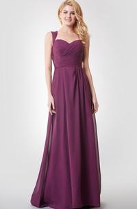 Queen Anne Neck Empire Long Bridesmaid Dress