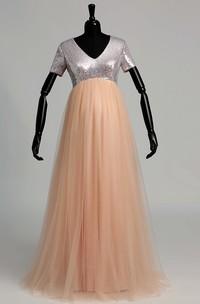 V-neck Short Sleeve Sequined Bodice Mternity Dress