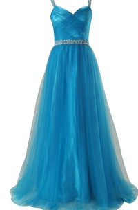 Sleeveless A-line Tulle Gown With Sequined Waistline