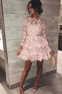 A-line High Neck Long Sleeve Sash Ribbon Tiers Short Mini Lace Homecoming Dress