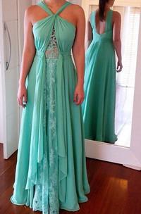 Sleeveless Floor-length Chiffon Dress with Ruffles
