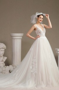 Sleeveless Ballgown Sexy Plunging V-neck Lace Appliqued Wedding Dress With V-back