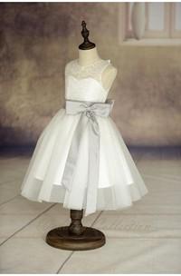 Ivory Sleeveless Lace Bodice Tulle Flower Girl Dress With Eggplant Sash and Bow