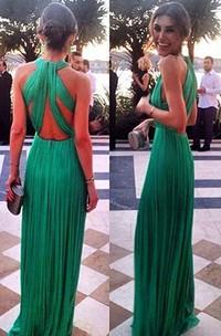 Elegant Green Long Chiffon Evening Dress Halter Cross Back