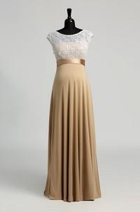 Floor-length A-line Bateau Cap Short Sleeve Illusion Jersey Lace Maternity Dress