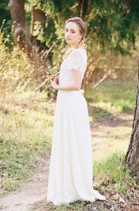 Chiffon Lace Weddig Dress With Flower