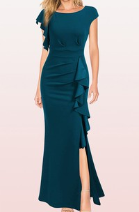 Sheath Bateau Jersey Evening Dress With Ruffles and Split Front