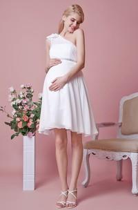 One Shoulder Empire Waist Short Chiffon Maternity Wedding Dress With Flower