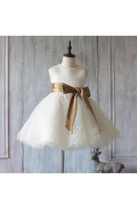 2018 Off White Beading Neck a Line Dot Knee Length Tulle Junior Bridesmaid Dress