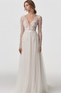 Ethereal Lace Tulle V-neck A Line Long Sleeve Wedding Dress with Appliques and Open Back