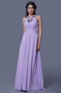A-Line Sleeveless Chiffon Dress With Keyhole Back and Pleats