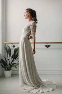 Elegant Lace and ChiffonV-neck Deep-V Back Wedding Dress with Ruching