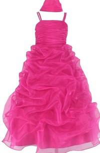 Sleeveless A-line Organza Dress With Ruffles