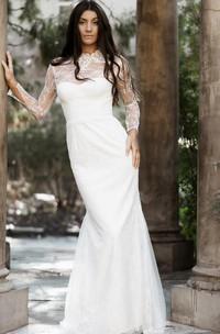 Modest Lace High Neck Mermaid Sheath Long Sleeve Wedding Dress with Keyhole