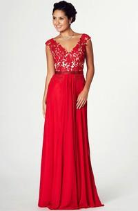Appliqued V-Neck Cap Sleeve Jersey Prom Dress