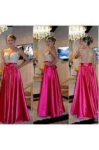 A-line Sweetheart Pleated Taffeta Long Backless Dress