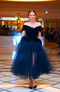 Sexy Black Tulle A-line 2018 Cocktail Dress Off-the-shoulder Tea-Length