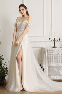 Lace Appliqued Sexy Front Split Wedding Dress With Straps And Off-the-shoulder Sleeves With Boning