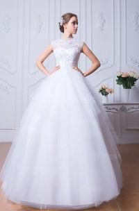 Glamorous Beadings White Tulle Wedding Dress Ball Gown Bowknot