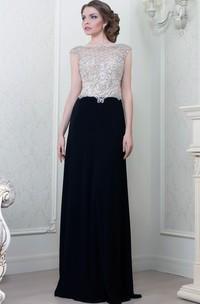 A-Line Beaded Cap-Sleeve Bateau-Neck Floor-Length Jersey Evening Dress