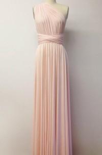 Pink Floor-length Jersey Dress