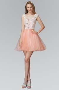 A-Line Short V-Neck Cap-Sleeve Tulle Lace Dress With Appliques