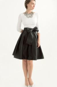 Black Taffeta Knee-length Long Sleeve Dress