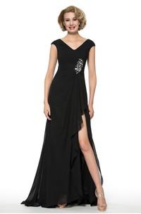 Elegant Chiffon V-Neck Low-V Back Long Dress with Front Split