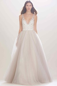 A-Line Sleeveless Appliqued V-Neck Tulle Wedding Dress With Beading And Illusion