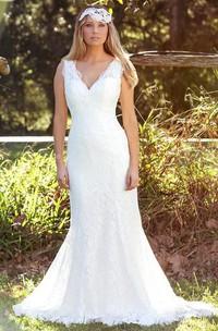 Trumpet Floor-Length Sleeveless V-Neck Lace Wedding Dress With V Back