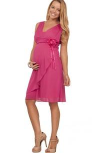 Sleeveless V-neck Knee-length Layered Pleated Chiffon Dress
