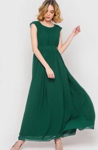 Maxi Cap-sleeve Chiffon Dress With Sash