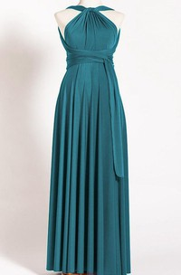 Tea-length Jersey&Satin Dress