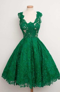 Cap Sleeve Scoop Neck A-line Knee Length Lace Dress