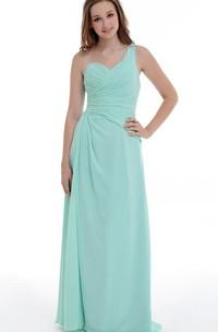 A-line Floor-length One-shoulder Chiffon&Satin Dress With Ruffles