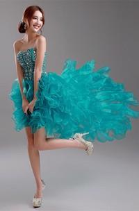 Sexy Ruffles Crystals Hi-Lo Prom Dress 2018 Sweep Train Sweetheart