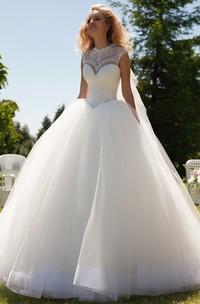 Long High Neck Beaded Cap-Sleeve Tulle Wedding Dress