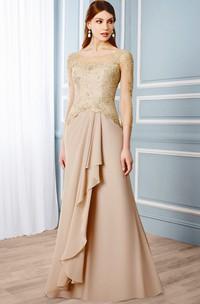 Draped 3-4 Sleeve Scoop Neck Chiffon Formal Dress