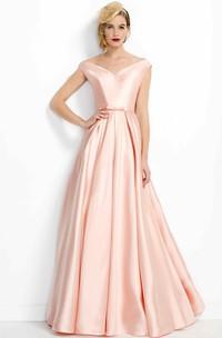 A-Line Pleated V-Neck Floor-Length Satin Prom Dress
