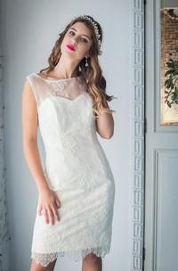Short Lace Weddig Dress With Beading