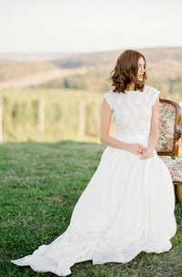 Boho Lace Floor-Length Cap Dress With Keyhole Back