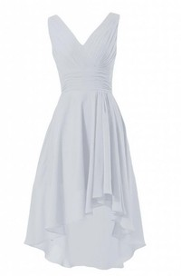Sleeveless V-neck High-low Chiffon Dress With Ruching