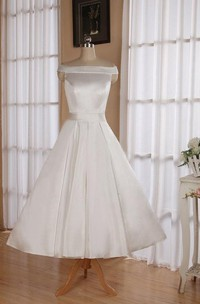 Sleeveless Tea-Length Satin Wedding Dress With Sash And Off-The-Shoulder Neck