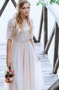 Boho Blush Ankle Length A-Line Chiffon Wedding Dress With Lace Bodice