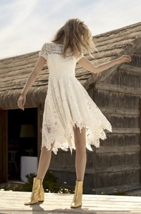 Informal Short Sleeve Country Knee-length Wedding Dress With Illusion Lace Details
