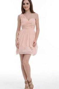 A-line Short One-shoulder Chiffon Dress With Ruffles